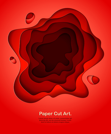 Abstract red paper cutout curvy shapes layered, vector illustration in paper cut style. layout for business card, presentations, flyers or posters. Illustration