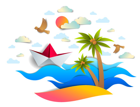 Paper ship swimming in sea waves with beautiful beach and palms, origami folded toy boat floating in the ocean with beautiful scenic seascape with birds and clouds in the sky, vector. Illustration