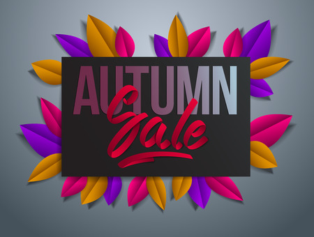 Autumn sale flyer template with lettering, poster, card, banner, advertising design, fall leaves vector modern style cartoon paper cut 3d illustration.