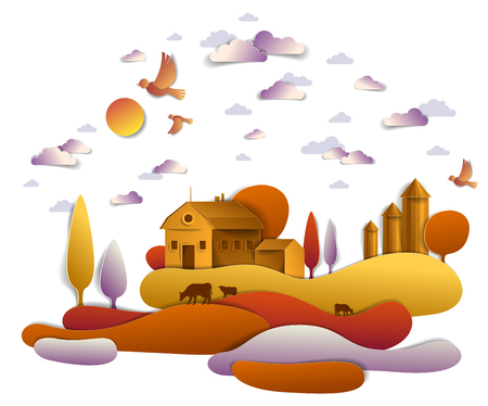 Farm in scenic autumn landscape of fields and trees and wooden country buildings, birds and clouds in the sky, cow milk ranch, countryside fall time vector illustration in paper cut style.