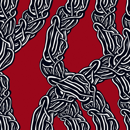 Horror art style horrible seamless pattern, vector background. Tangled roots or gut biological life form weird endless illustration. Usable for fabric, wallpaper, wrapping, web and print.