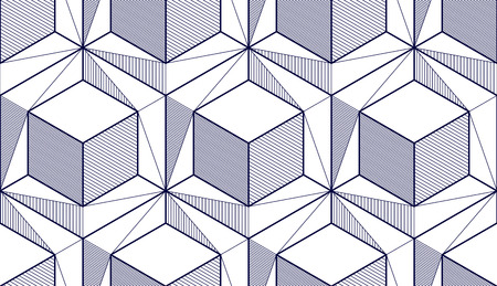 Geometric cubes abstract seamless pattern, 3d vector background. Technology style engineering line drawing endless illustration. Single color, black and white. Usable for fabric, wallpaper, wrapping, web and print. Illustration