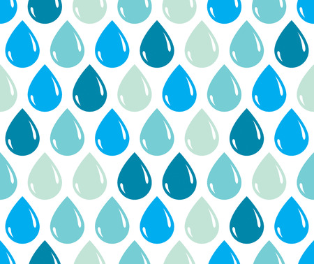 Rain drops falling seamless pattern, vector blue colored repeat endless background, dew water dripping. Illustration
