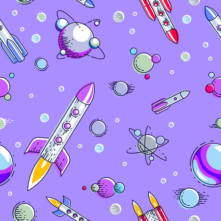 Space seamless background with rockets and planets, undiscovered galaxy cosmic fantastic and interesting textile fabric for children, endless tiling pattern, vector illustration cartoon motif. Illustration