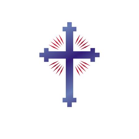 Cross of Christianity graphic emblem. Heraldic vector design element. Retro style label, heraldry icon, religious insignia.