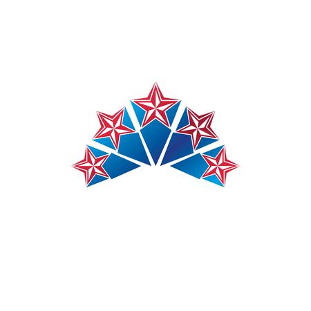 Military Star emblem. Heraldic vector design element, 5 stars guaranty insignia.
