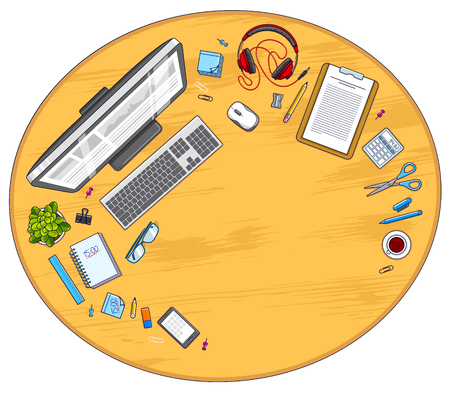 Wooden work desk workspace top view with PC computer and a lot of different stationery objects on table with copy space. All elements are easy to use separately or recompose illustration. Vector.