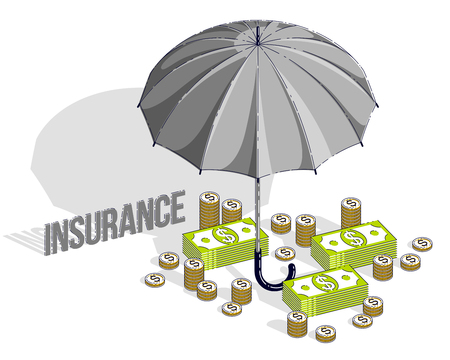 Insurance policy concept, umbrella with cash money dollar stack and coins isolated on white background. Vector 3d isometric business and finance illustration, thin line design. Illustration