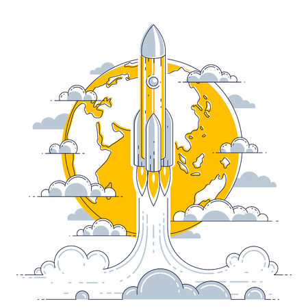 Rocket launch into undiscovered space with planet earth in background. Explore universe, breathtaking space science. Thin line 3d vector illustration isolated on white. Vektorové ilustrace