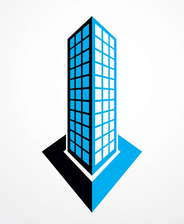 Business building, modern architecture vector illustration. Real estate realty office center design. 3D futuristic facade in big city.