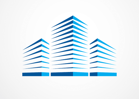 Business building, modern architecture vector illustration. Real estate realty office center design. 3D futuristic facade in big city. Vectores