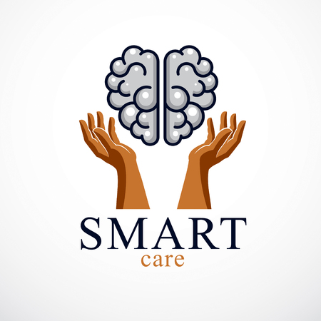 Smart Care concept design of human anatomical brain with careful tender and defending hands.