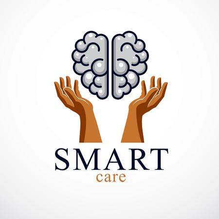 Diseño de concepto de Smart Care del cerebro anatómico humano con manos tiernas y defensivas cuidadosas.