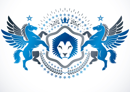 Heraldic design, vector vintage emblem decorated with graceful Pegasus, wild lion and pentagonal stars..
