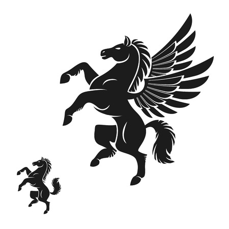 Winged Pegasus and Horse ancient emblems elements set. Heraldic design elements collection. Retro style label, heraldry  .