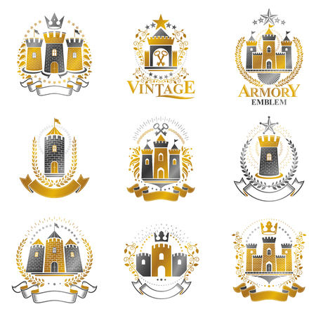 Ancient Bastions emblems set. Heraldic vector design elements collection. Retro style label, heraldry