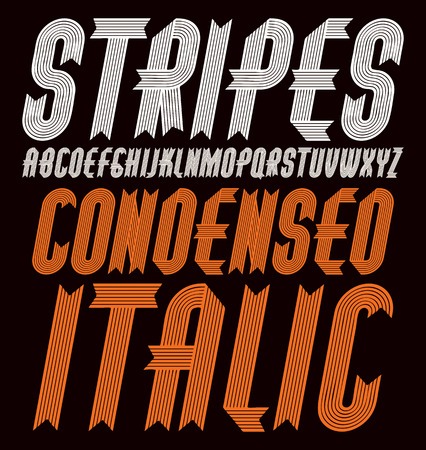 upper case funky ornate alphabet letters set. Trendy bold italic condensed font, typescript for use in  creation. Created using stripy ornate, parallel lines.
