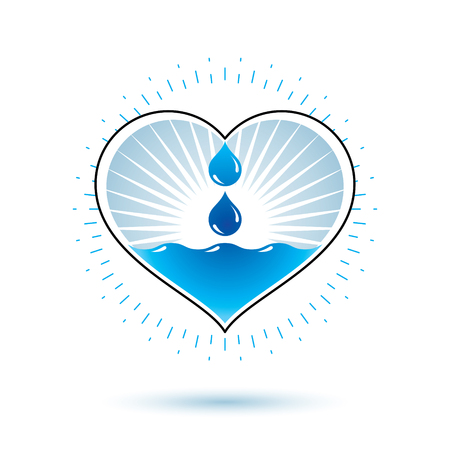Pure water  abstract icon for use as marketing design symbol. Environment conservation concept.