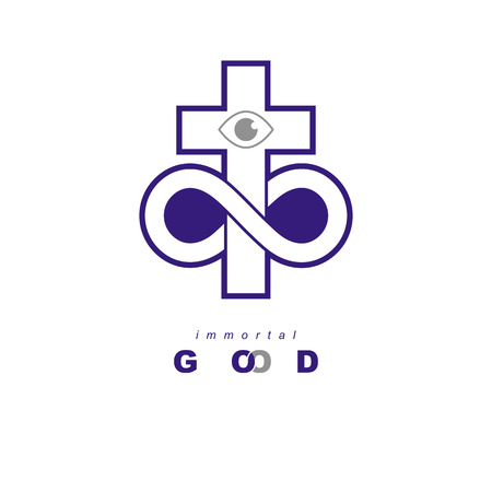 Everlasting God  creative symbol design combined with infinity endless loop and Christian Cross