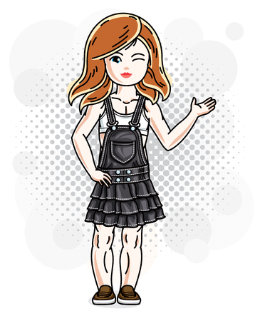 Cute happy red-haired girl in jeans wear posing. Vector character. Stock Illustratie