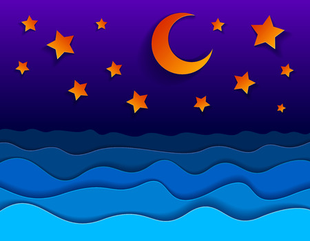 Beautiful night seascape in paper cut style, curvy lines of waves and moon and stars in the sky, perfect modern vector illustration.