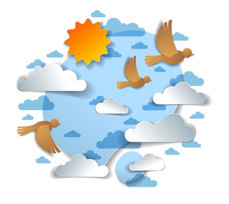 Birds flying in the sky among beautiful clouds and sun, summer cloudscape, vector illustration in paper cut kids style. Vektorové ilustrace