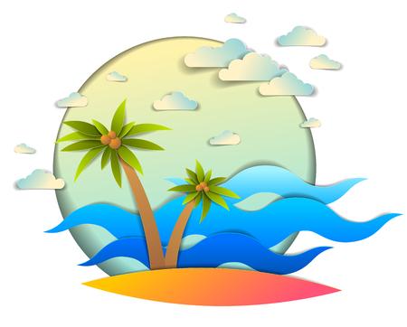 Bella vista sul mare con onde del mare, spiaggia e palme, nuvole nel cielo, illustrazione vettoriale in stile taglio carta, tema di vacanze estive in riva al mare.
