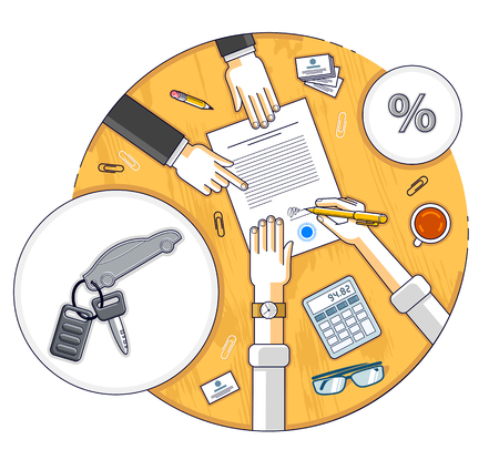 Man signs financial document for credit to buy a new car and bank employee or auto salon dealer explains terms of loan, or car rental, top view of desk with people hands and paper documents. Vector. Illusztráció