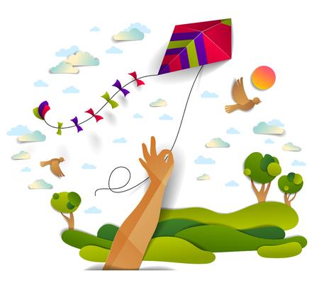 Hand met vlieger over bewolkte hemel vogels vliegen en zon, weiden en bomen schilderachtige natuur landschap, vrijheid en gemak emotionele concept, vector moderne stijl papier gesneden 3d illustratie.
