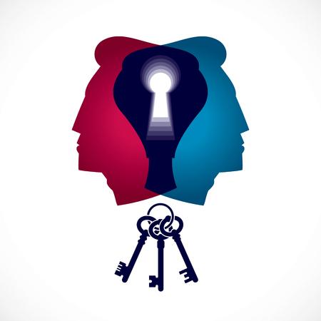 Psicologia e concetto di salute mentale, creato con profilo della testa a doppio uomo e buco della serratura, la psicoanalisi come chiave per la natura umana, l'individualità e l'ombra dell'archetipo.