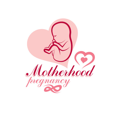 Vector embryo emblem isolated on white. New life beginning drawing. Prenatal center and motherhood preparing clinic abstract emblem