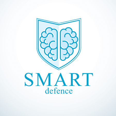 Smart Defense, concept of intelligent software antivirus or firewall. Human anatomical brain composed with guard ammunition shield. Vector Illustration