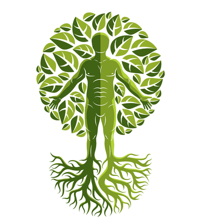 Vector illustration of human, athlete made as continuation of tree with strong roots and surrounded by eco green leaves. Mythic creature, Perun Slavic god. 일러스트