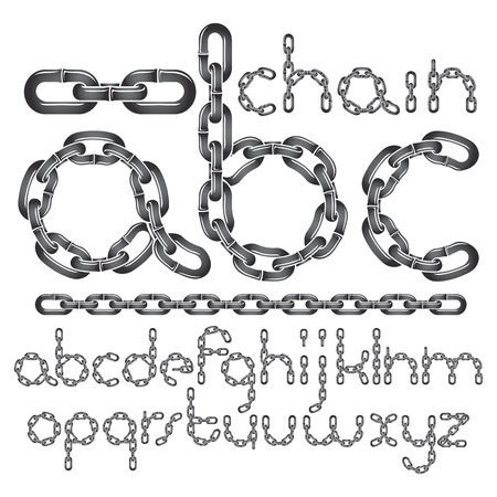 Vector font, trendy typescript can be used in poster creation. Lower case decorative letters, abc created using connected chain link. Ilustração