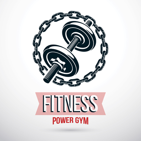 Fitness center vector graphic emblem composed using dumbbell with weight discs and iron chain.