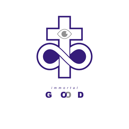 Everlasting God icon creative symbol design combined with infinity endless loop and Christian Cross .