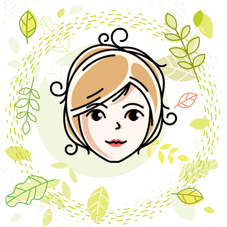 Beautiful women face, human head. Vector character, attractive blonde lady face features. Spring theme illustration.