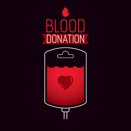 Vector illustration of blood dropper prepared for blood donation. Blood transfusion metaphor, medical care emblem.