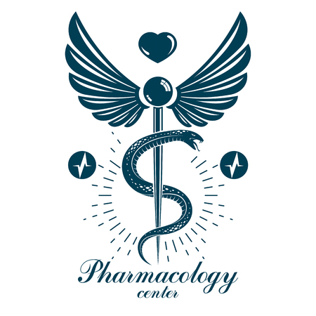 Pharmacy Caduceus icon, medical emblem created with heart shape and electrocardiogram chart symbol. Cardiology diagnosis clinic emblem for use in medicine and rehabilitation.
