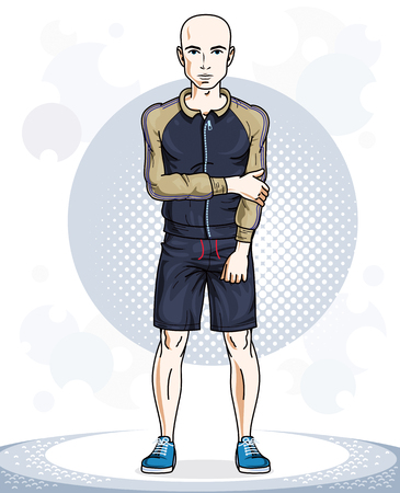 Happy hairless young adult man standing. Vector character wearing sport clothes, healthy lifestyle and fitness theme.
