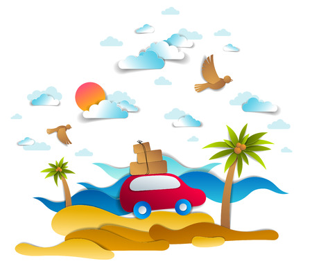 Car travel and tourism, red minivan with luggage riding sea shore with palms and waves, birds and clouds in sky, paper cut vector illustration of auto in scenic seascape. Beach summer holidays. Illustration