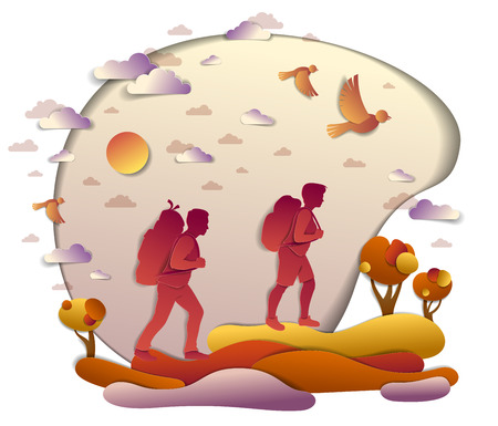 Young active couple hiking in autumn through meadows and fields with trees and birds in the fall sky. Boyfriend and girlfriend hikers having time of rest in nature, vector illustration.