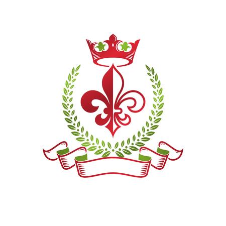 Emblème décoratif héraldique des armoiries avec fleur de lys et couronne royale, produit écologique. Illustration vectorielle isolé, Fleur-De-Lis.