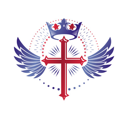 Cross Religious graphic emblem created using imperial crown and angel wings, Christian crucifixion.