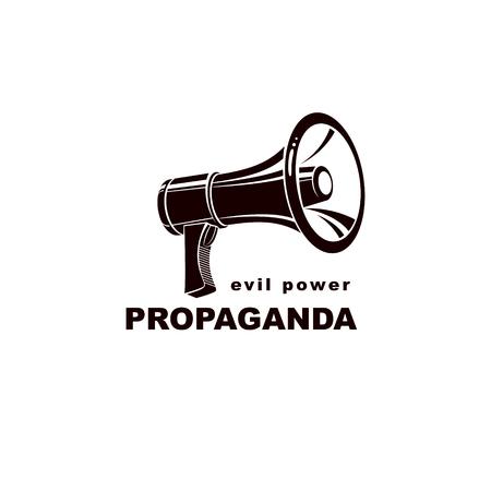 Loudspeaker isolated on white. Misleading and brainwashing information, fake news concept