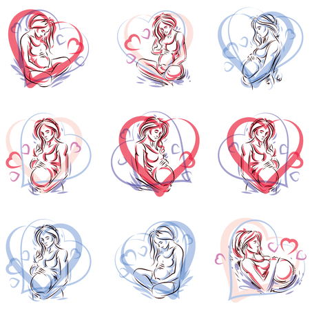 Collection of vector hand-drawn illustration of pregnant elegant woman expecting baby, sketch. Love and fondle theme.