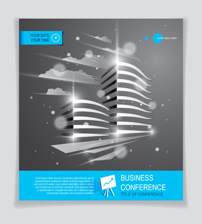 Office building brochure, modern architecture vector flyer with blurred lights and glares effect. Real estate business center grey design. 3D futuristic facade business conference print template. Vettoriali