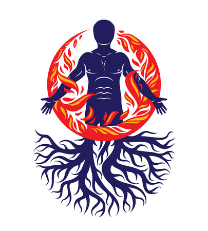 Vector illustration of human being created with tree roots. Human and nature harmony, fire man covered with a fireball. Stock Vector - 109949022