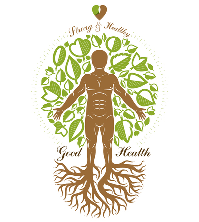 Vector illustration of athletic man made as continuation of tree with roots. Strong heart is good health, wellness center abstraction.