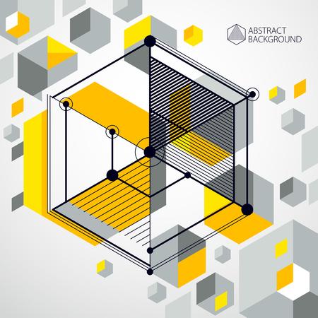 Lignes et formes abstract vector fond jaune 3D isométrique. Schéma abstrait du moteur ou du mécanisme d'ingénierie. Disposition de cubes, hexagones, carrés, rectangles et différents éléments abstraits. Vecteurs
